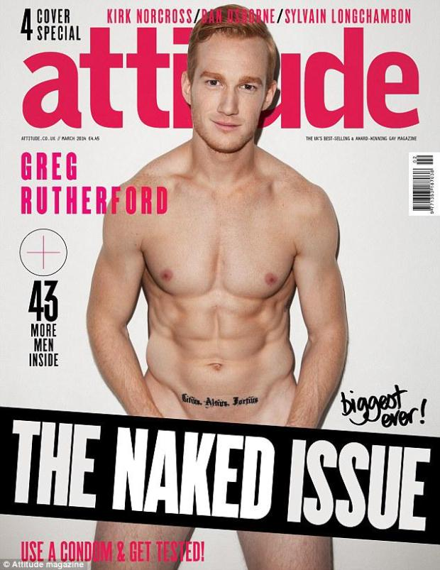 NSFW: GINGER OLYMPIC ATHLETE, GREG RUTHERFORD, STRIP DOWN FOR ATTITUDE MAGAZINE