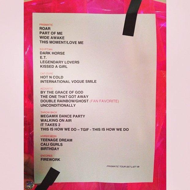 KATY PERRY LEAKS NEW TOUR SETLIST!